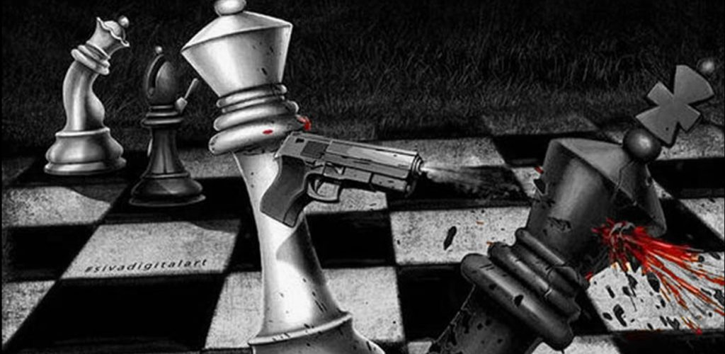 This photograph encapsulates the sheer frustration and raw violence covered in a typical chess game!